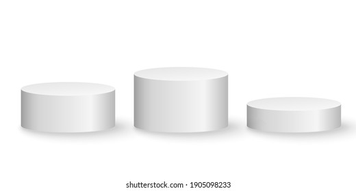 3d platforms isolated on white background. Podium for performance or presentation. Geometric shapes. Empty pedestal. Vector illustration. EPS 10.