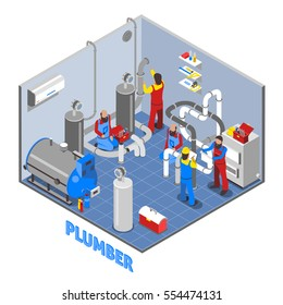 3d plumber people composition in isometric style in uniform work in the basement vector illustration