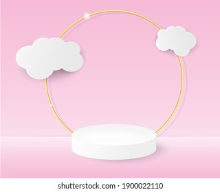 3D podium with paper clouds on a pink background. Geometric podium stage layout for website product showcase in modern style. Vector illustration.