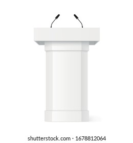 3D Podium tribune with microphones. Realistic vector mockup with shadow. Rostrum stand. White debate podium. Pupitre discours. Stage stand isolated on white background - stock vector.