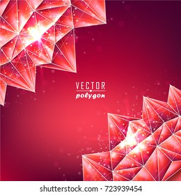 3d Polygon Backgrounds from Geometric Shapes, Triangles of Points of Lines. Vector abstract illustration on theme Science, Medicine, Business, Biology and Technology.