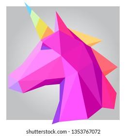 3d polygon colorful unicorn design