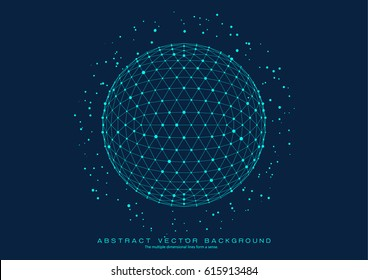 3D polygon mesh planet, dots and lines connected to the grid, abstract  background