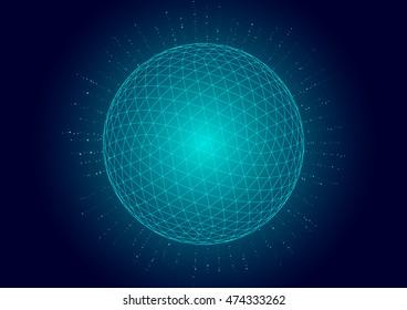 3d polygon mesh sphere, explosion mesh sphere