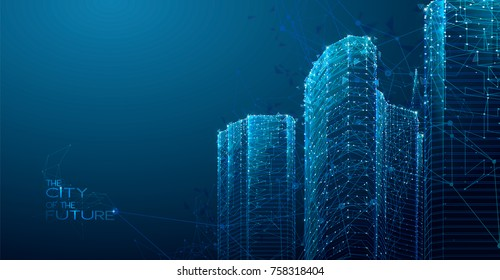 3d polygonal City, future, futuristic concept, metropolis for Vr glasses, virtual reality abstract city, tech background, Vector illustration.