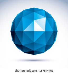 3D polygonal geometric object, vector abstract design element, clear eps 8.