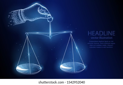 3d polygonal illustration concept of a hand holding scales on a dark blue background, a symbol of justice, harmony, equality.