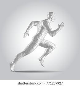 3D polygonal Running man figure on white background