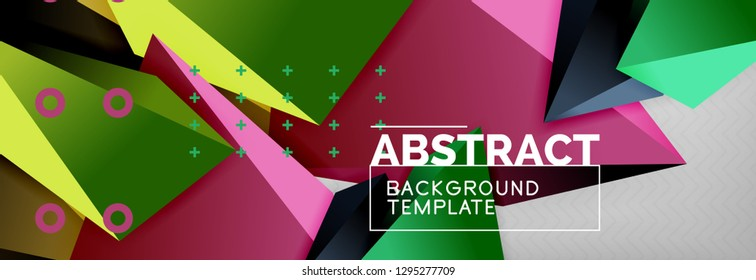 3d polygonal shape geometric background, triangular modern abstract composition. Vector techno or business template illustration