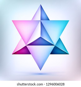 3d polyhedron Merkaba, esoteric crystal, sacral geometry shape, volume david star, mesh form, abstract vector object