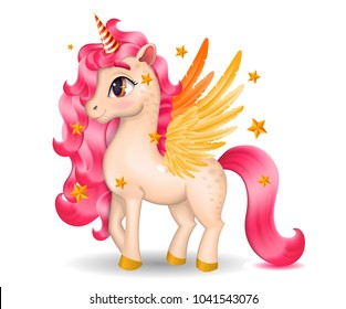 3D Pony Unicorn with Big Eyes and Golden Wings, Hooves on white Background, Cartoon Character Hand Drawn Vector Illustration
