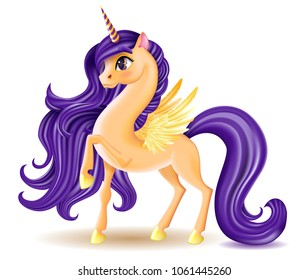 3D Pony Unicorn Character with Big Eyes, Golden Wings and Hooves on White Background, Long Hair (Mane, Tail), Striped Horn, Cartoon Personage Hand Drawn Vector Illustration for Children, EPS10