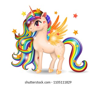 3D Pony Unicorn персонаж с большими глазами, золотые крылья и копыты, радужные волосы (грива, хвост), изолированный на белом фоне, мультфильм персонаж ручной рисунок, векторная реалистичная иллюстрация для детей