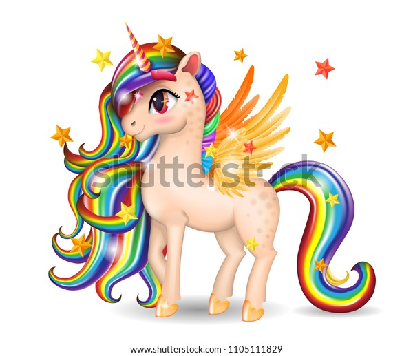 3D Pony Unicorn Character with Big Eyes, Golden Wings and Hooves, Iridescent Hair (Mane, Tail), Isolated on White Background, Cartoon Personage Hand Drawn, Vector Realistic Illustration for Childrens