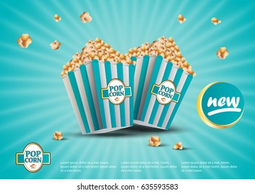 3D popcorn isolated on turquoise striped background.For web site,ads,poster,placard and promotion material.Also useful for banner,marketing on social network and blog advert
