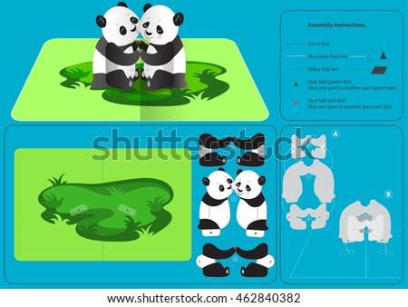 3 D Pop Up Card Panda Hug Step Stock Vector Royalty Free 462840382