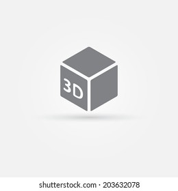3D Print vector icon - 3d cube Printing symbol