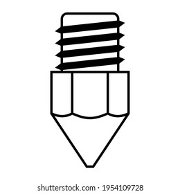 3d printer extruder nozzle icon, vector 3d printing nozzle extruder symbol
