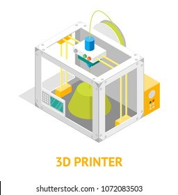 3d Printer Flat Design Style Isometric View Isolated on White Background Design Modern Innovation Technology Concept . Vector illustration of Print