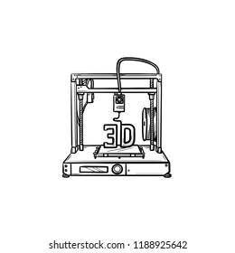3d printer hand drawn outline doodle icon. Manufacturing, printing machine and technology concept. Vector sketch illustration for print, web, mobile and infographics on white background.