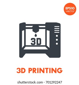 3d printer icon, additive manufacturing pictogram isolated over white