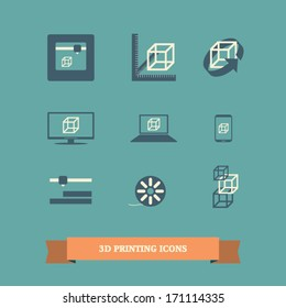 3d printer icons set with simple flat design suitable for infographics, presentations, user interface, etc. Eps10 vector illustration