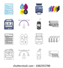 3D printer, newspaper printer, ink, pen. Typography set collection icons in cartoon,outline style vector symbol stock illustration web.
