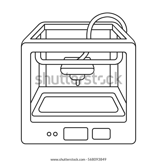 3D Printer in outline style isolated on white background. Typography symbol stock vector illustration.