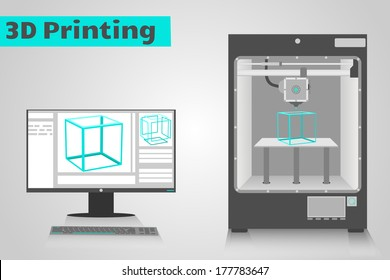 3D printer printing a cyan plastic cube from computer. LCD monitor shows software ui with 3D cube model.