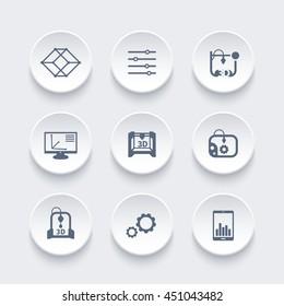 3d printer, printing icons set, modeling, designing, additive manufacturing, vector illustration
