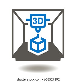 3D Printer Vector Icon. 3D Printing New Product Development Illustration.