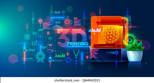 3d printing and additive technology banner. 3d printer on workplace of engineer maker with abstract tech schema of additive technologies. Education of  three-dimensional printing, engineer development