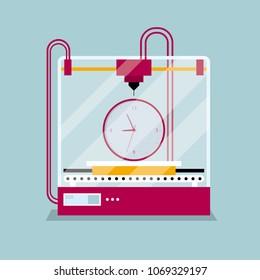 3D printing clock model, concept of rapid prototyping.