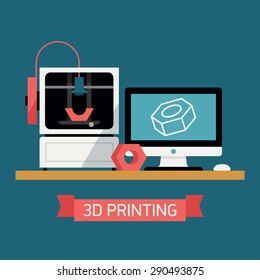 3D printing concept design with desktop computer with digital 3D model on screen, 3D printer and finished prototype object