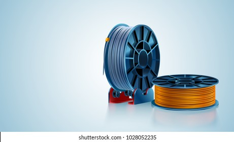 3d printing filament spool or coil on holder on white background. Colored plastic material for 3d printer. Silver and gold or orange color. Additive technology vector illustration.
