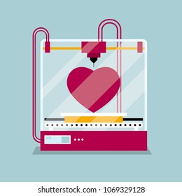 3D printing a heart-shaped symbol, the concept of rapid prototyping.