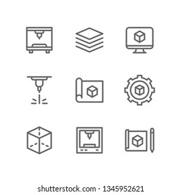3d printing icon set including printer, manufacturing, layer, computer, laser, prototype, modelling, cube, machine