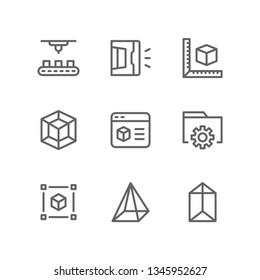 3d printing icon set including printer, factory, handheld, measure, cube, model, software, settings, cube, geometry, prism