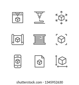 3d printing icon set including printer, manufacturing, modelling, blueprint, prototype, filament, cube, file, scale