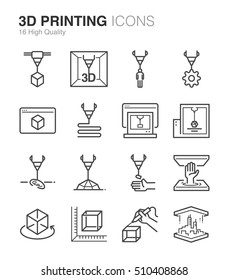 3D Printing Icons. Included the icons as printer, object, services, model, bio printing, app and more.