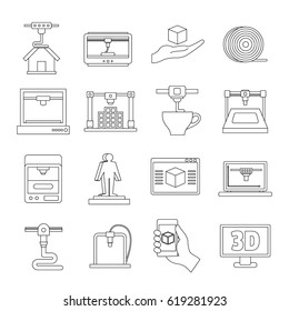 3D Printing icons set. Outline illustration of 16 3d Printing vector icons for web