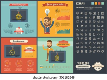 3D printing infographic template and elements. The infographic template includes illustrations of hipster men and huge awesome thin line icons set. Modern minimalistic flat vector infographic design