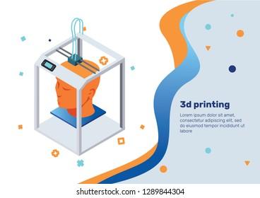 3D Printing. Isometric Concept.