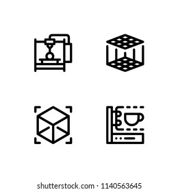 3d printing and modeling. Set outline icon EPS 10 vector format. Professional pixel perfect black & white icons optimized for both large and small resolutions. Transparent background.