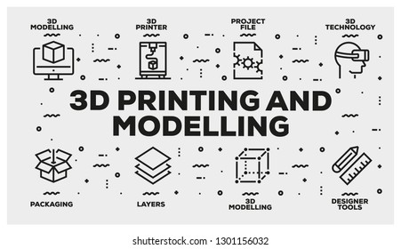 3D PRINTING AND MODELLING LINE ICON SET