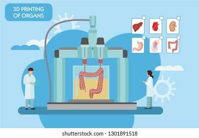 3d printing in modern medical technology. Bioprinting, prosthetics. 3D printing of the liver, stomach, lungs, kidneys and heart. Colorful vector illustration in flat cartoon style.