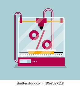3D printing a percentage symbol, the concept of rapid prototyping.