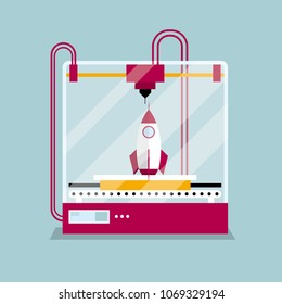 3D printing a rocket model, the concept of rapid prototyping.
