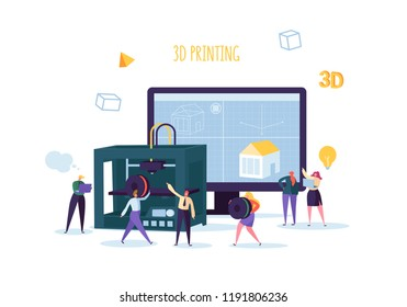 3D Printing Technology Concept. 3D Printer Equipment with Flat People Characters and Computer. Engineering and Prototyping Industry. Vector illustration
