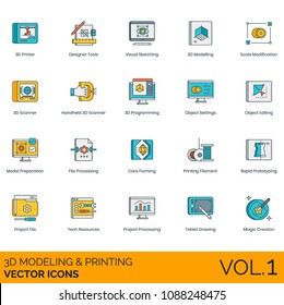 3d printing vector icon set. Printer, designer tools, visual sketching, modeling, scale, scanner, object settings, editing, model preparation, file processing, core, filament, rapid prototyping, tech.
